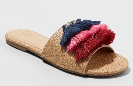 Target Raffia Tassle Slide Sandals $23